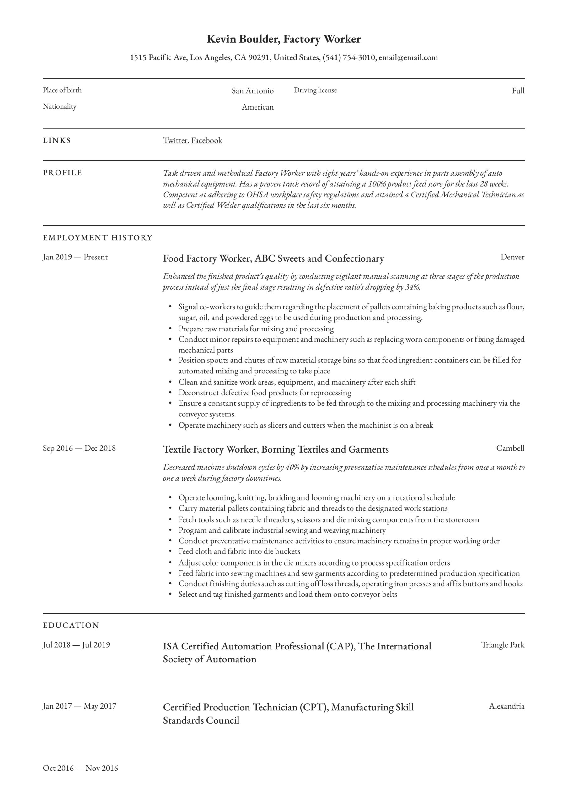 factory worker resume writing guide examples for job plant operator objective cdl free Resume Resume For Factory Job