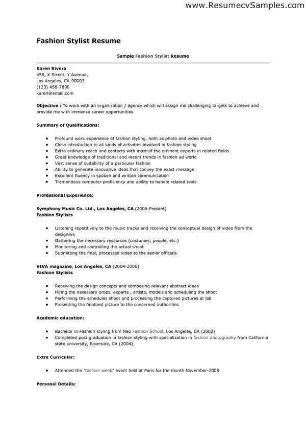 fashion stylist resume this example is for job search in the category of designer jobs Resume Fashion Stylist Assistant Resume