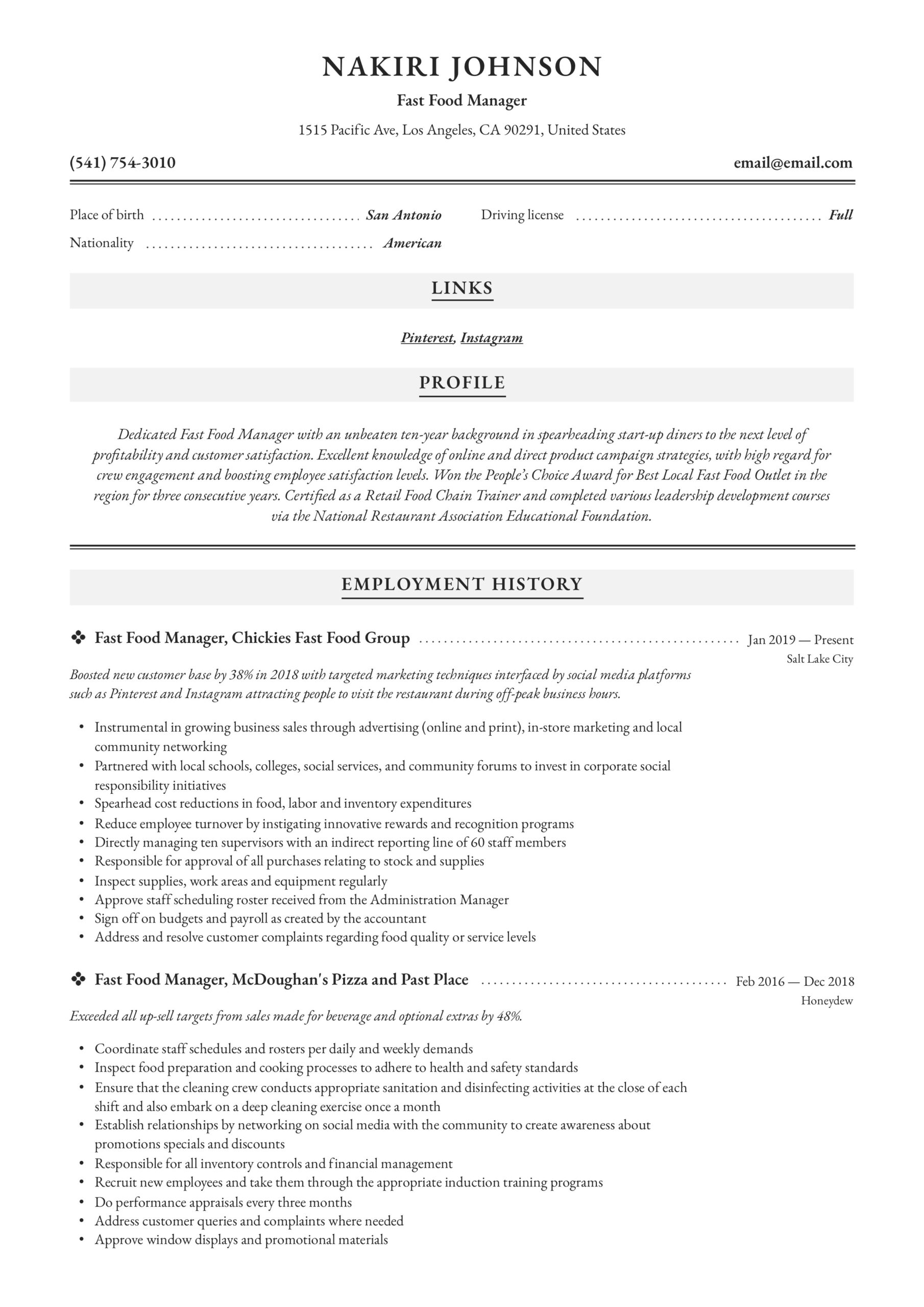 fast food manager resume writing guide examples worker elementary teacher cover letter Resume Fast Food Worker Resume
