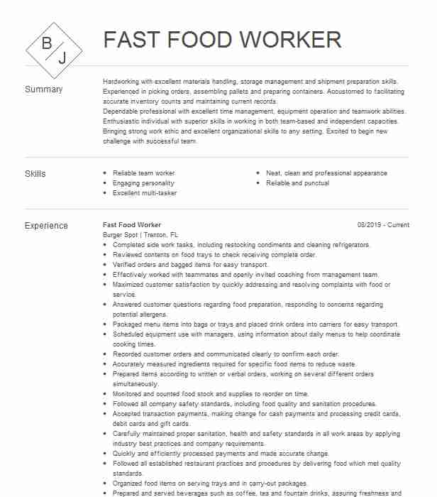 fast food worker resume example resumes livecareer proven templates customer care sample Resume Fast Food Worker Resume