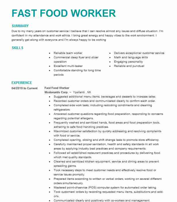 fast food worker resume example resumes livecareer student ministry speech pathology grad Resume Fast Food Worker Resume