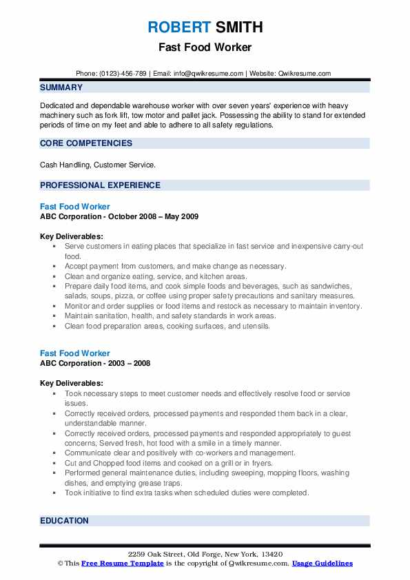 fast food worker resume samples qwikresume pdf usajobs builder proven templates process Resume Fast Food Worker Resume