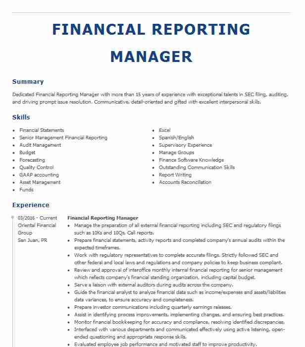 financial reporting manager resume example black decker dallastown format for msc Resume Financial Reporting Manager Resume