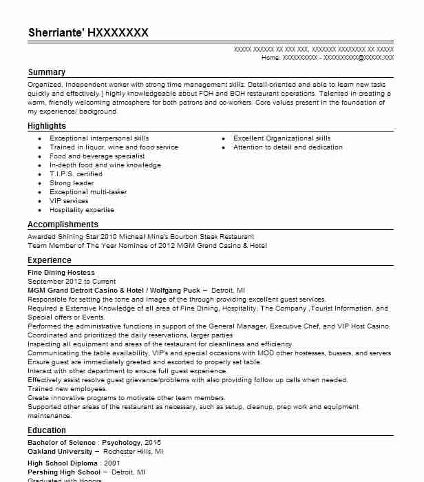 fine dining hostess resume example resumes livecareer examples driver responsibilities Resume Fine Dining Resume Examples