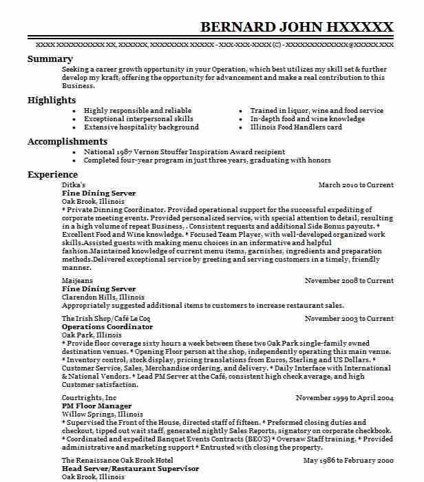 fine dining server resume example food service resumes examples format for result awaited Resume Fine Dining Resume Examples