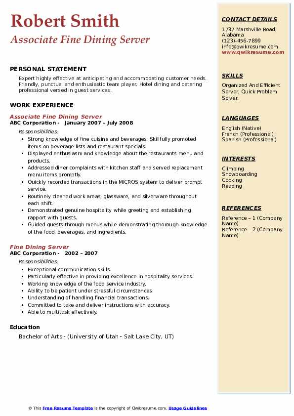 fine dining server resume samples qwikresume examples pdf apartment manager ucsd example Resume Fine Dining Resume Examples