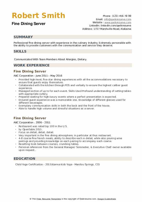 fine dining server resume samples qwikresume examples pdf various formats ucsd example Resume Fine Dining Resume Examples
