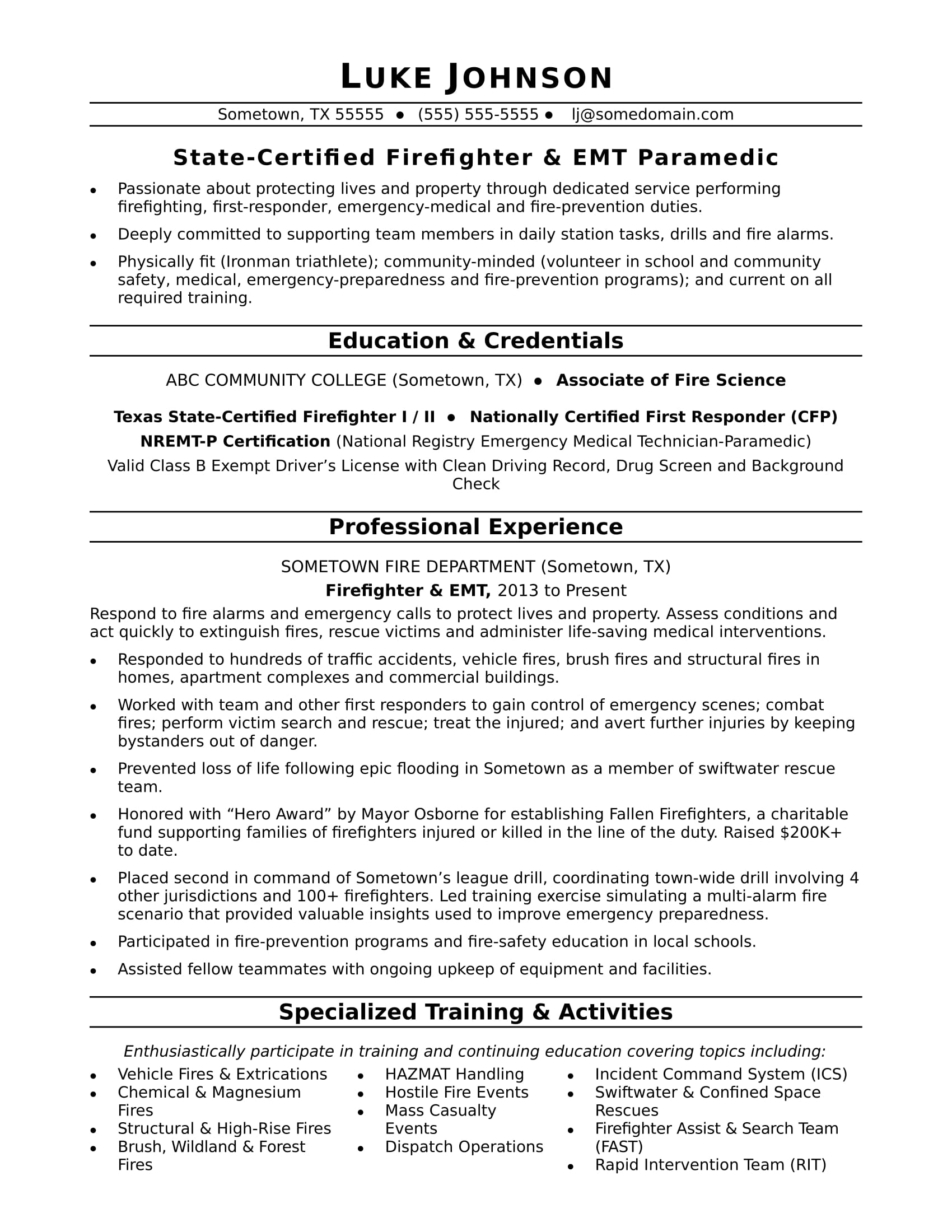 firefighter resume sample monster free emt templates summary examples for someone with Resume Free Emt Resume Templates