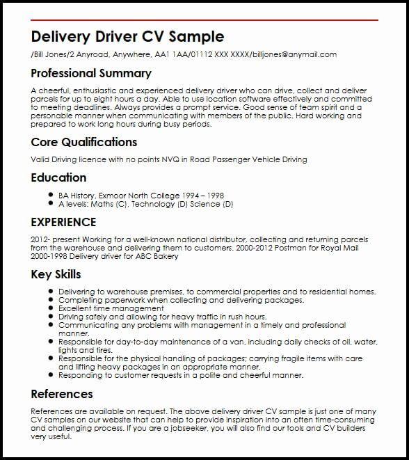food delivery driver resume beautiful cv sample job samples examples casac reference Resume Food Delivery Driver Resume