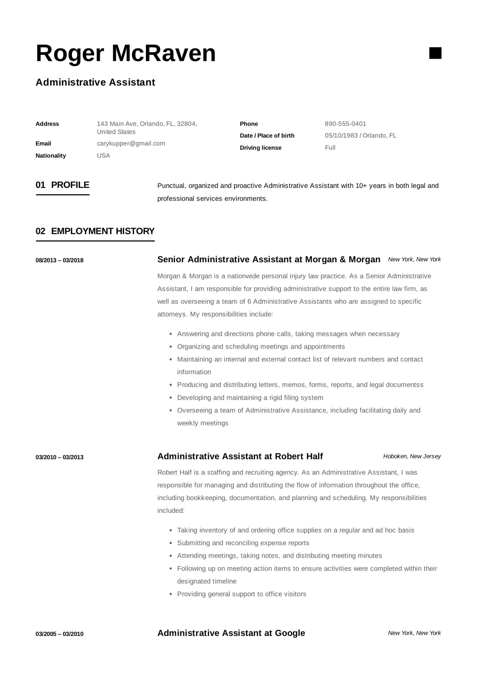 free administrative assistant resumes writing guide pdf resume format for administration Resume Resume Format For Administration Job