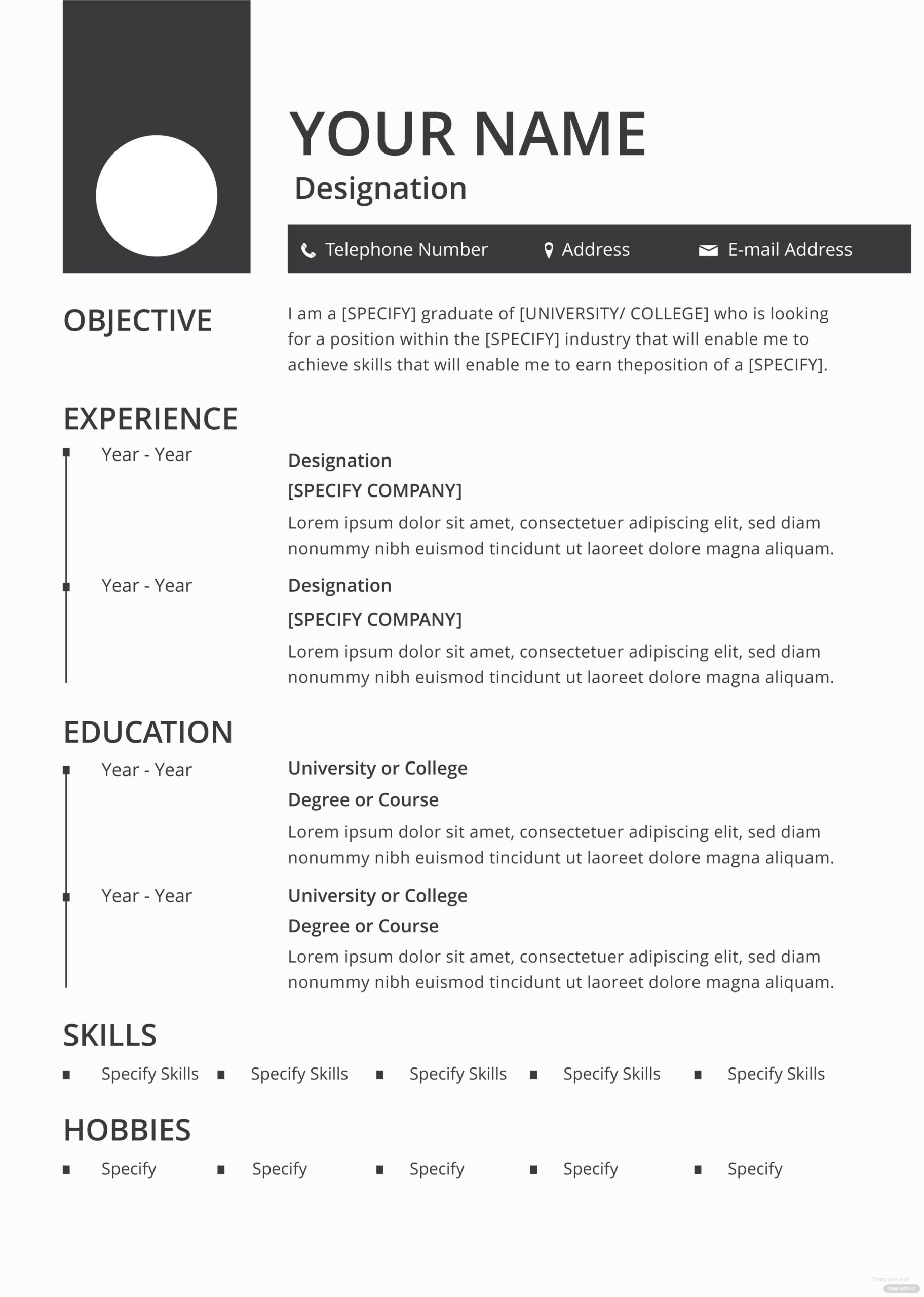 free blank resume and cv template in adobe photoshop microsoft word publisher best blan Resume Adobe Photoshop Experience Resume