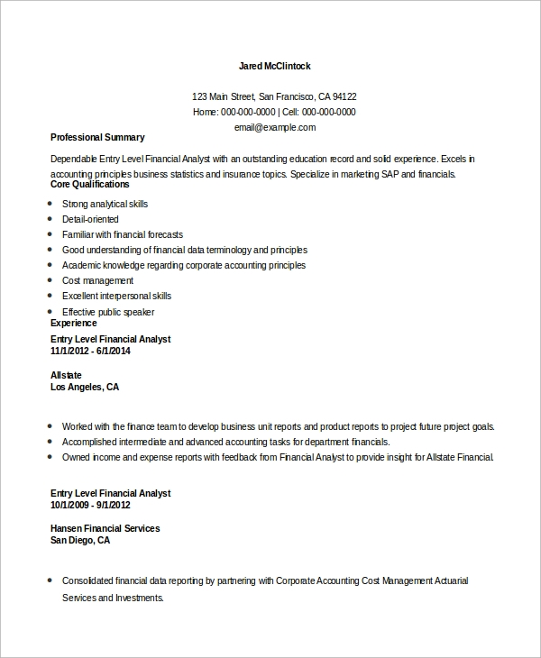 free entry level resume samples in ms word pdf profile examples financial analyst example Resume Entry Level Resume Profile Examples
