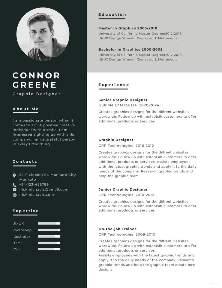 free experience graphic designer resume cv template in photoshop creativebooster 740x957 Resume Graphic Designer Resume Template