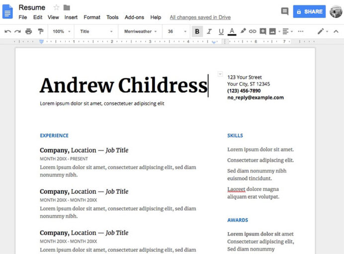 free google docs microsoft word resume cv templates for drive support serif template Resume Resume Formats For Google Docs