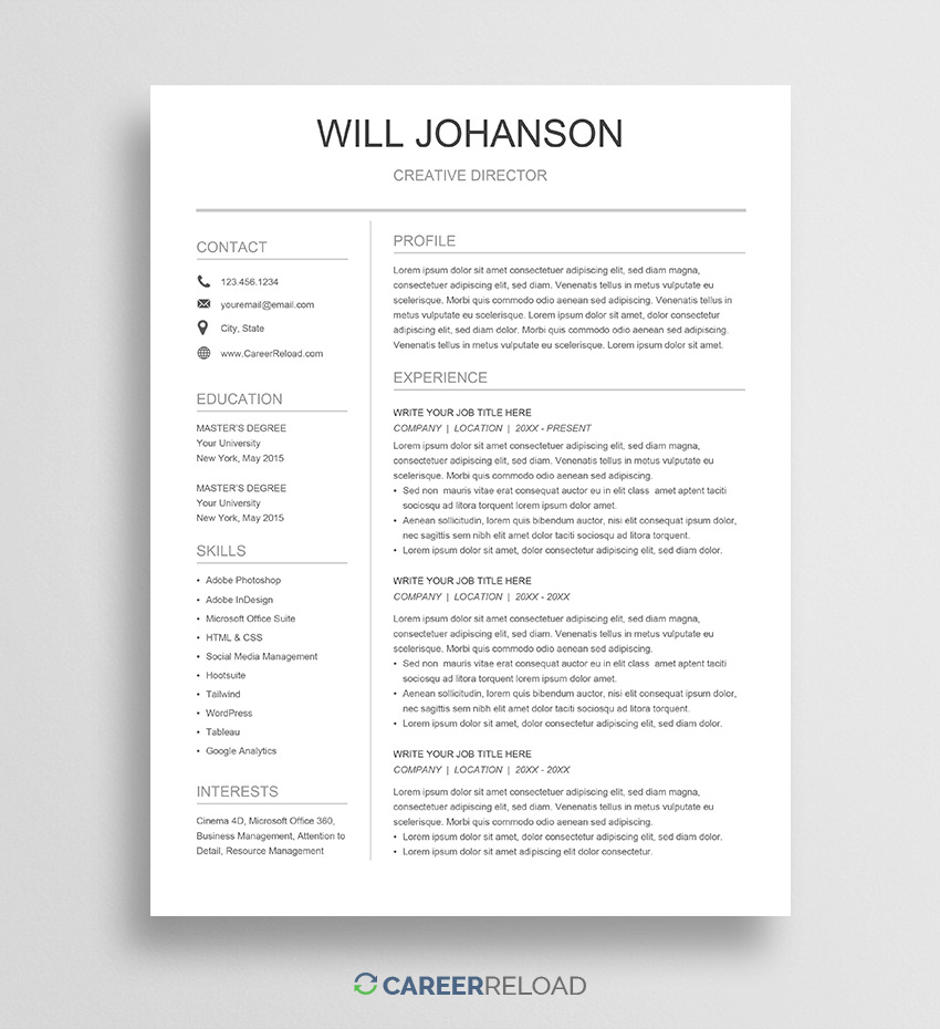 free google docs resume template career reload professional simple basic format technical Resume Professional Resume Template Google Docs