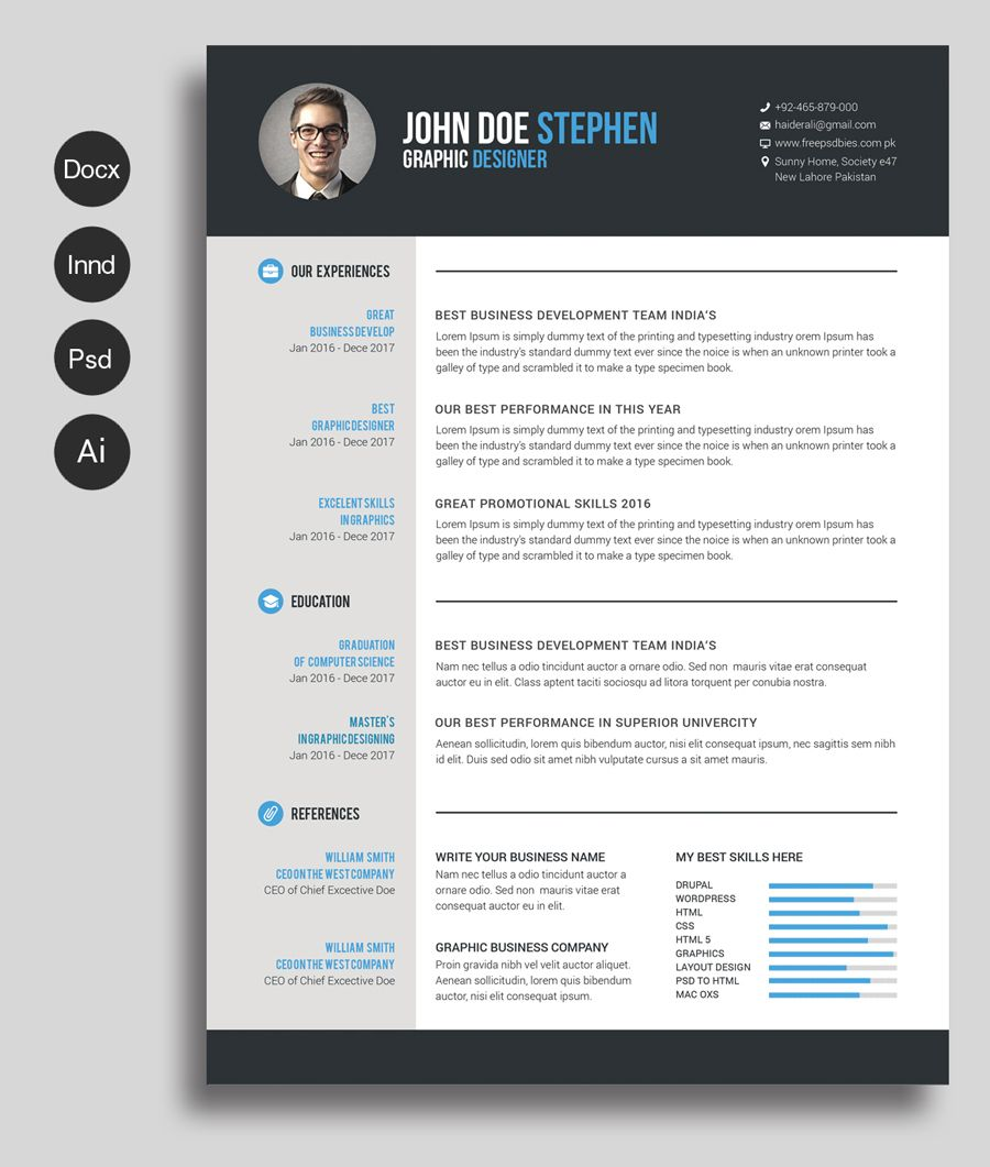 free ms word resume and cv template design resources printable templates in format Resume Free Resume Templates In Word Format