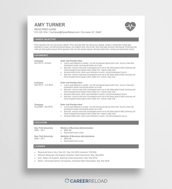 free nurse resume template amy career reload registered entry level data accounts payable Resume Registered Nurse Resume Template