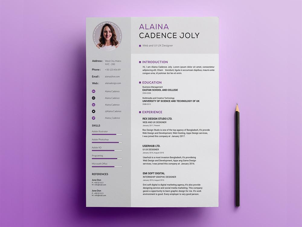 free professional resume cv template with clean design in photoshop creativebooster Resume Professional Resume Cv Template