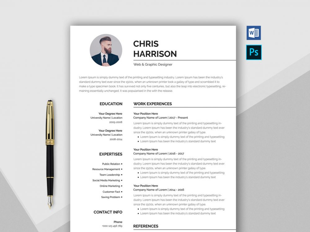 free professional resume template in word format resumekraft cv 1000x750 examples Resume Professional Resume Cv Template