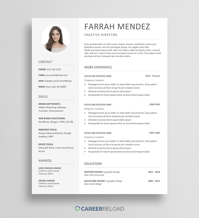 free resume template for word with photo can get templates farrah sap hci analyst sample Resume Where Can I Get Free Resume Templates