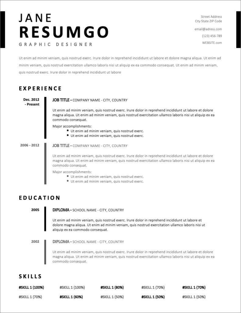 free resume templates for to now in word format new excel vba on error next example Resume Free Resume Templates In Word Format
