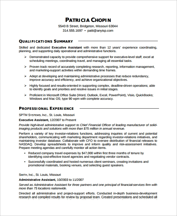 free sample executive assistant resume templates in ms word pdf template administrative Resume Executive Assistant Resume Template