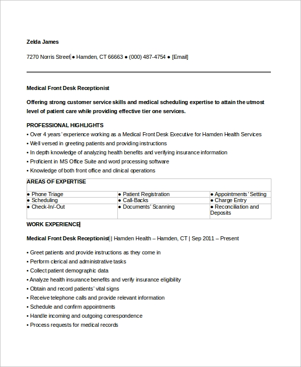 free sample medical receptionist resume templates in ms word pdf front desk professional Resume Front Desk Medical Receptionist Resume