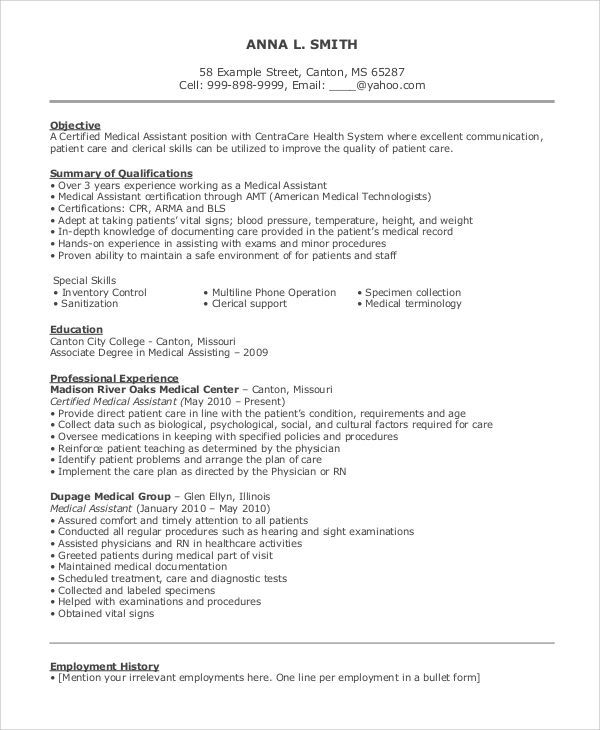 free sample objective for resume templates in ms word pdf medical assistant objectives Resume Medical Assistant Resume Objectives Samples