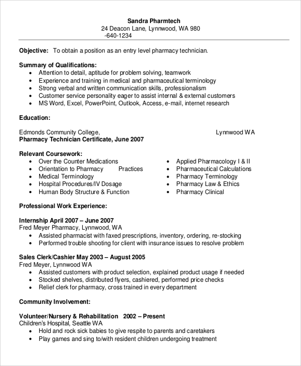 free sample pharmacy technician resume templates in ms word pdf template military service Resume Pharmacy Technician Resume Template Free