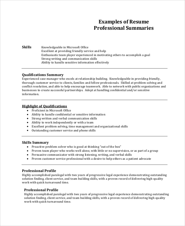 free sample professional resume templates in pdf ms word profile examples summary design Resume Professional Profile Resume Examples