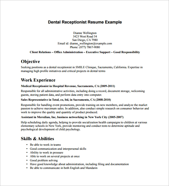 free sample receptionist resume templates in pdf ms word dental example tips for filling Resume Dental Receptionist Resume