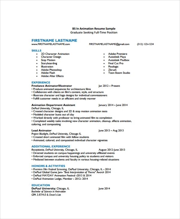 free sample resume templates in pdf ms word excel for animator fresher image hd Resume Resume For Animator Fresher