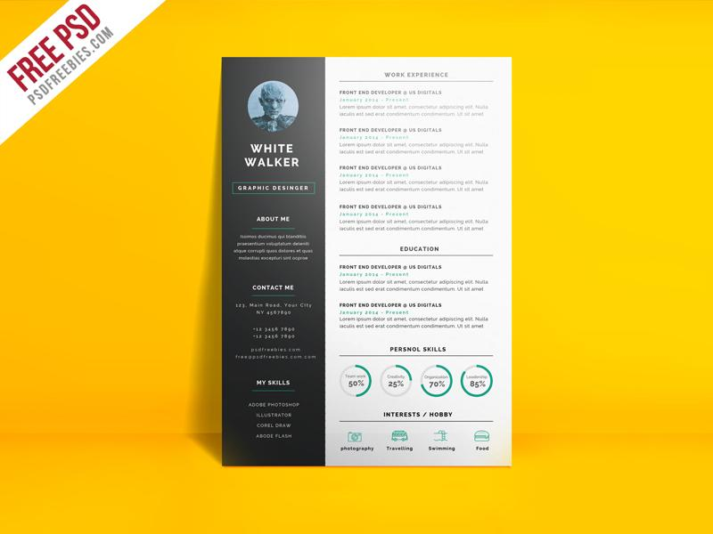 free simple and clean photo cv resume template in photoshop form creativebooster graphic Resume Free Graphic Design Resume Template