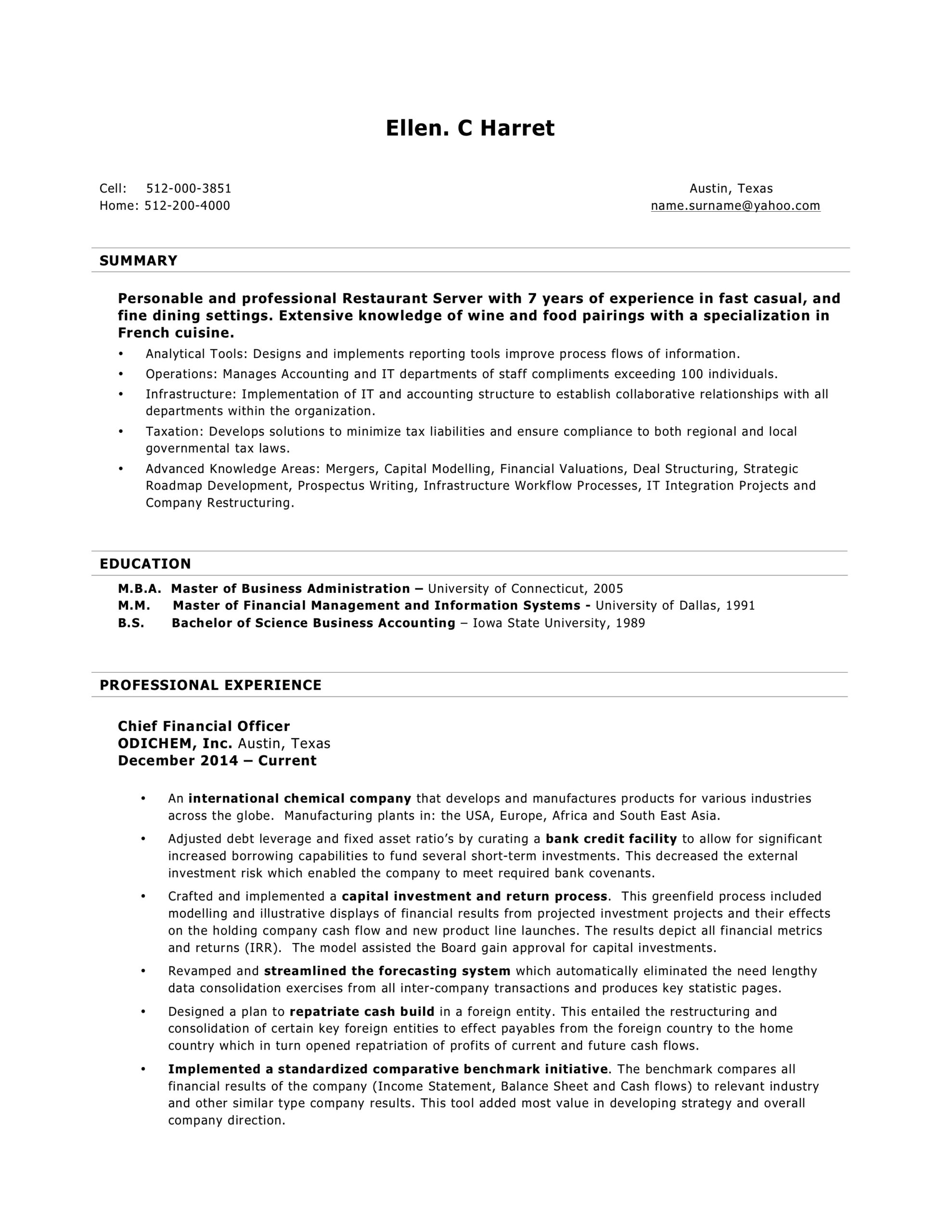 free word resume templates in ms professional experience sample server template should Resume Professional Experience Resume Sample