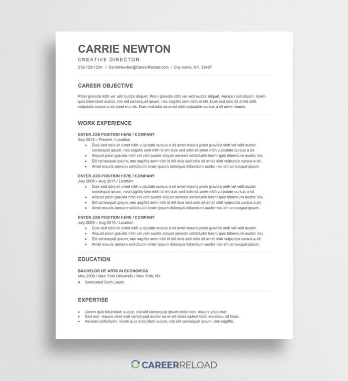 free word resume templates microsoft cv ats friendly template carrie stanford psychiatric Resume Ats Friendly Resume Template Free 2020