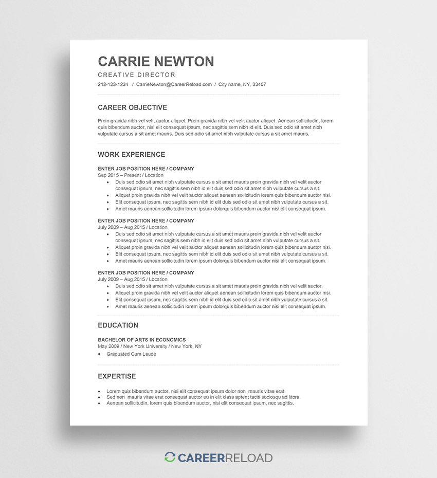 free word resume templates microsoft cv ats template carrie journalism skills for Resume Ats Resume Template 2020