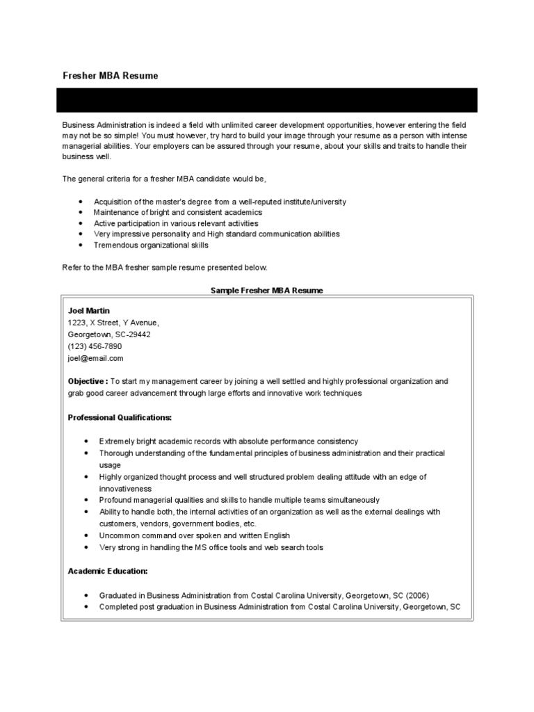 fresher resume master of business administration marketing for freshers cia or curriculum Resume Bba Resume For Freshers