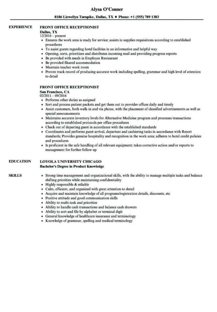 front desk receptionist resume sample unique medical new summary exam jobs dental format Resume Resume Format For Front Office Assistant