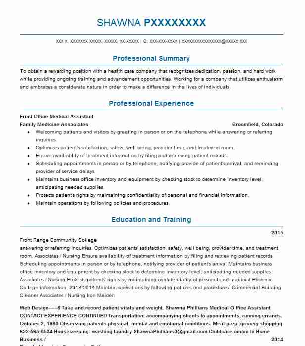 front office medical assistant resume example livecareer desk staff the song mba package Resume Resume Format For Front Office Assistant