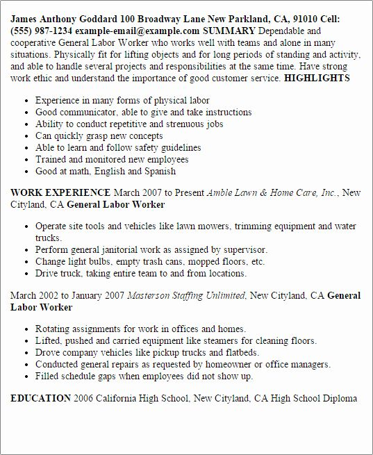 general labor resume examples unique professional templates to showcase your objective Resume General Labor Resume Summary Example