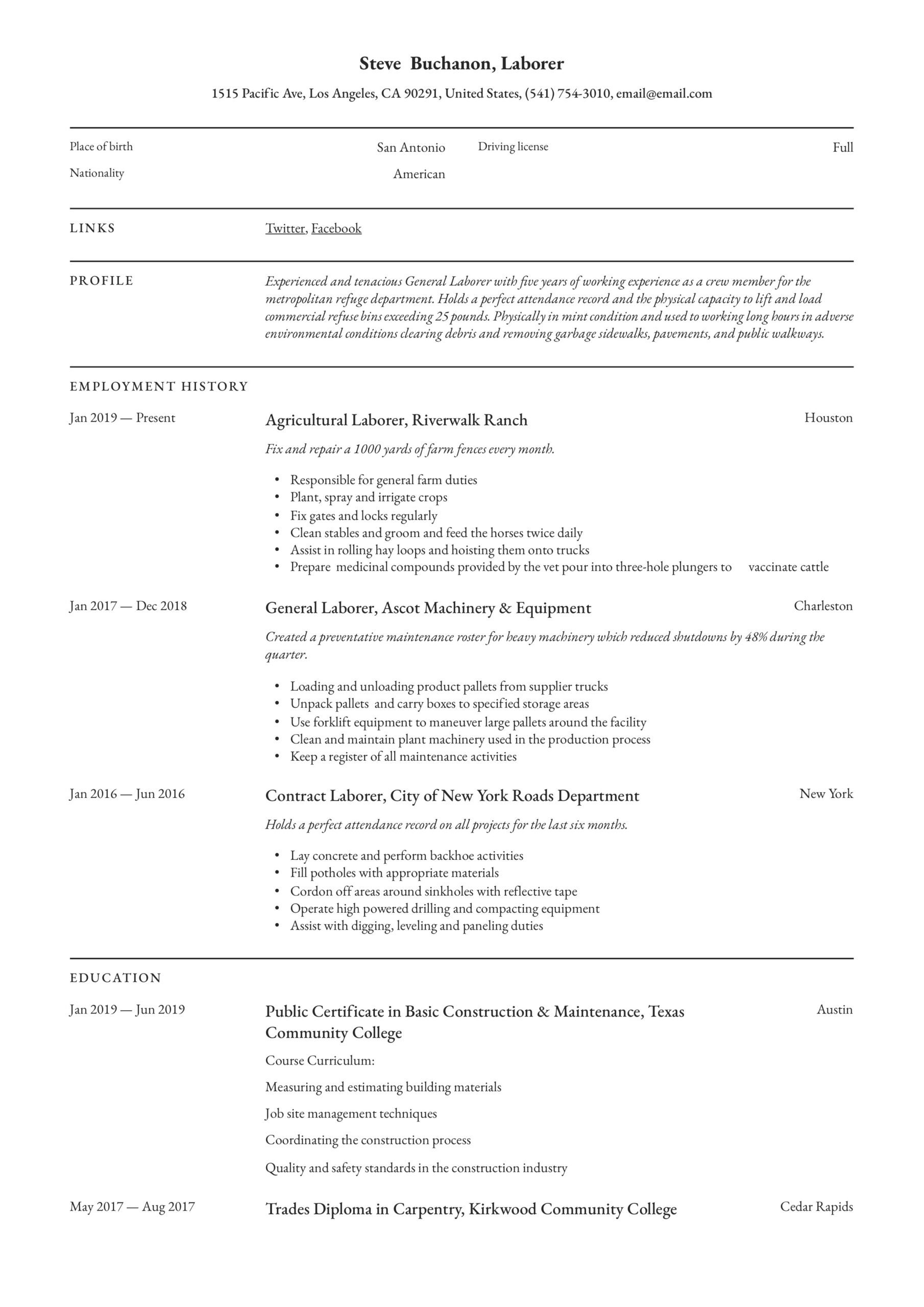 general laborer resume writing guide free templates labor summary example massage Resume General Labor Resume Summary Example