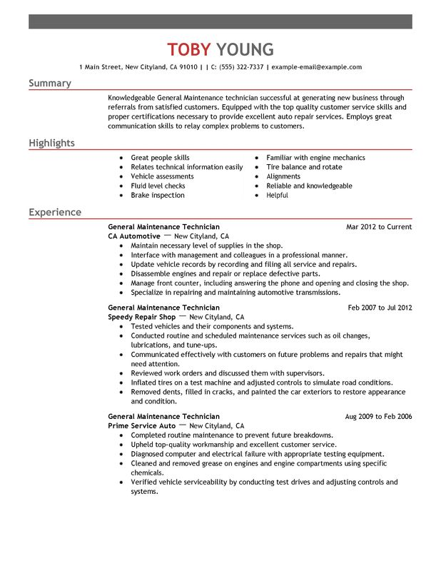 general maintenance technician resume examples free to try today myperfectresume sample Resume Technician Resume Sample