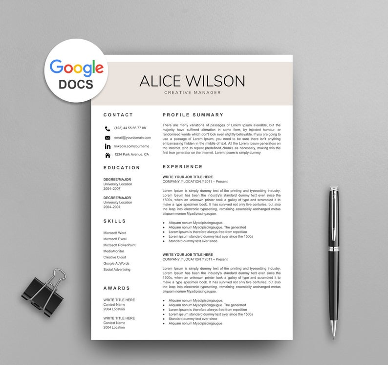 google docs resume templates now template free creative sharepoint user buyer objective Resume Google Docs Resume Template Free Download