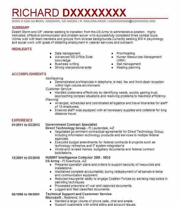 government contract specialist resume example livecareer federal contractor mbbs format Resume Federal Contractor Resume