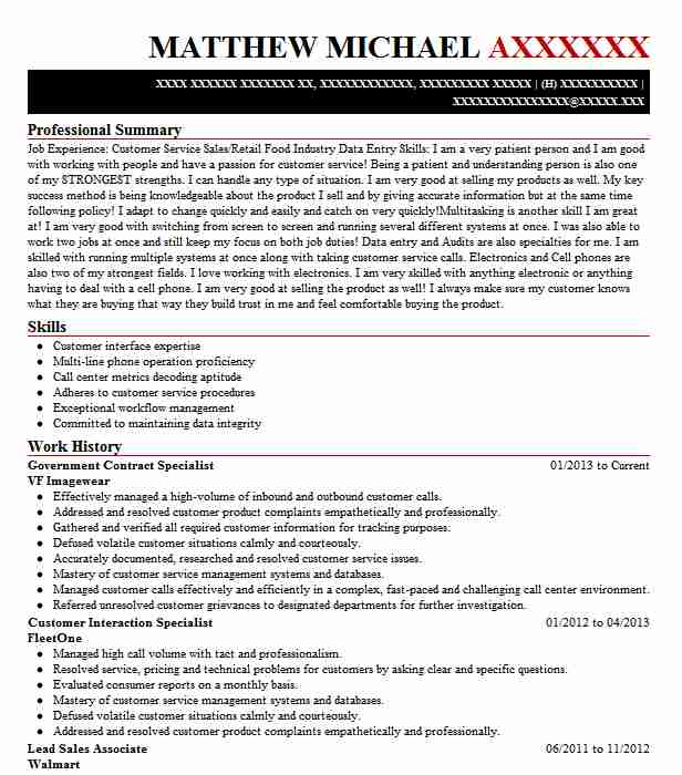 government contract specialist resume example livecareer federal contractor onet builder Resume Federal Contractor Resume