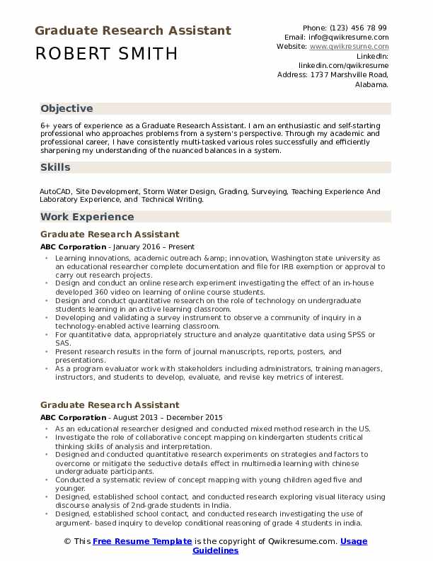 graduate research assistant resume samples qwikresume template pdf customer service Resume Resume Template Research Assistant