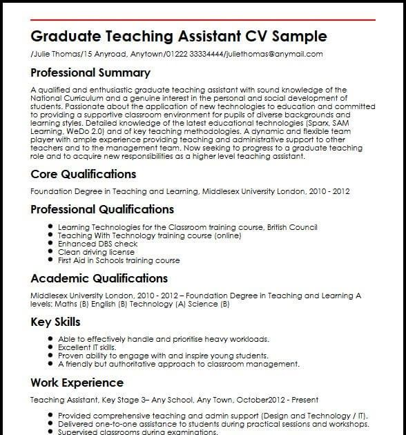 graduate teaching assistant cv samples resume templates objective examples job Resume Graduate Teaching Assistant Job Description Resume