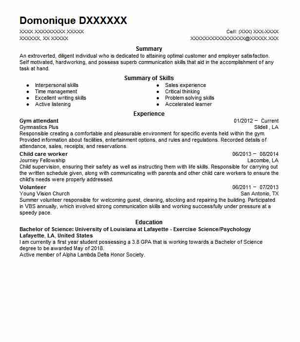 gym attendant resume example resumes livecareer objective for job edicate google submit Resume Resume Objective For Gym Job