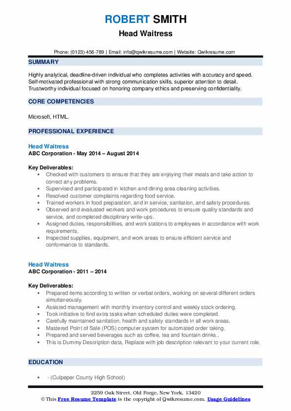 head waitress resume samples qwikresume responsibilities pdf out of high school mft entry Resume Waitress Responsibilities Resume