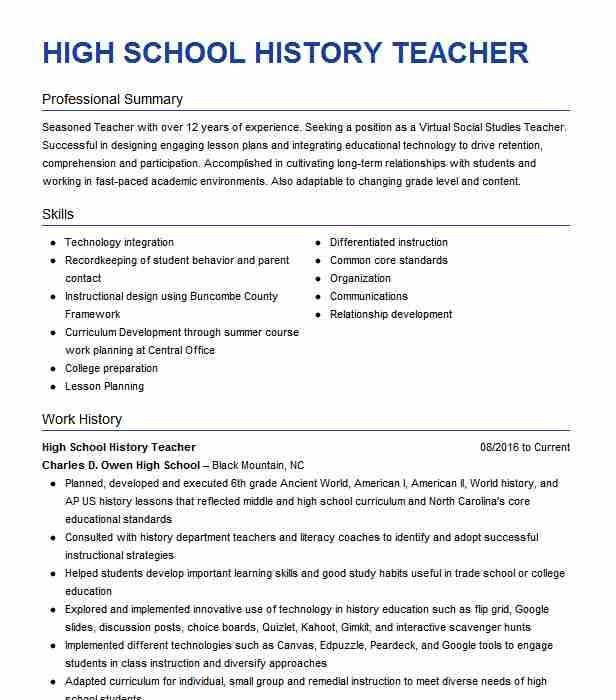high school history teacher resume example livecareer with work new social worker avaya Resume Resume With Long Work History
